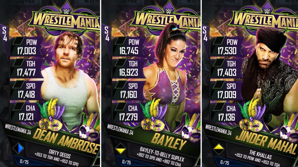 Nuevas cartas WrestleMania 34 para  WWE SuperCard