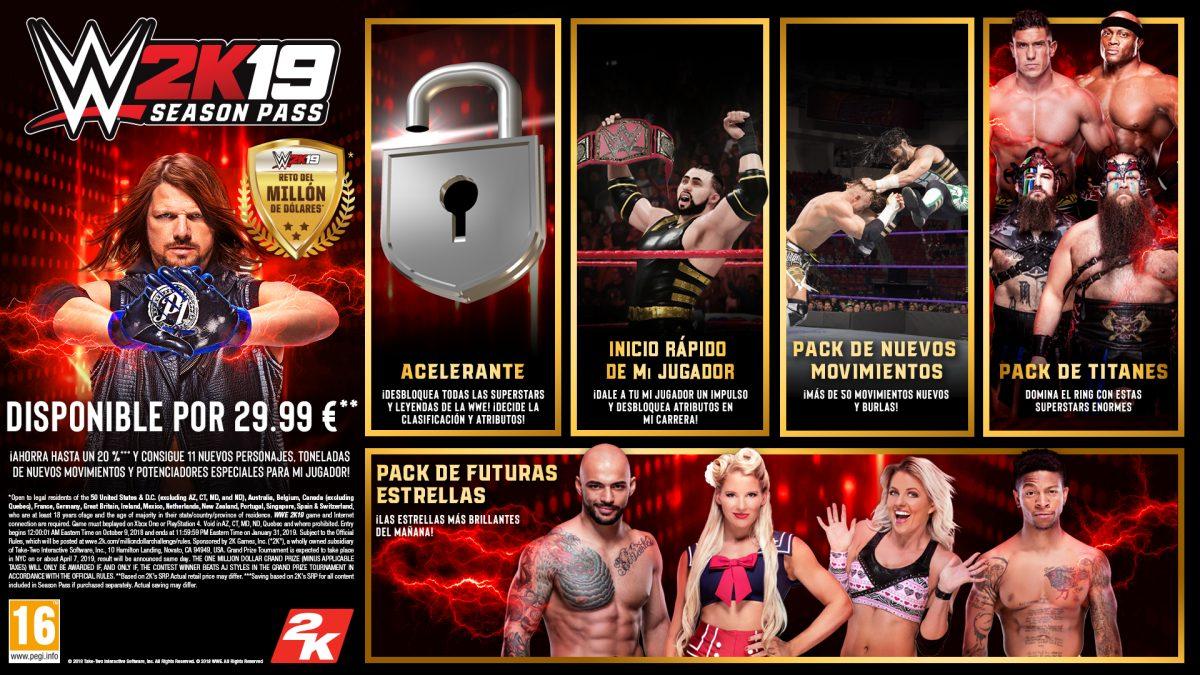 2K anuncia el contenido descargable y el pase de temporada de WWE® 2K19