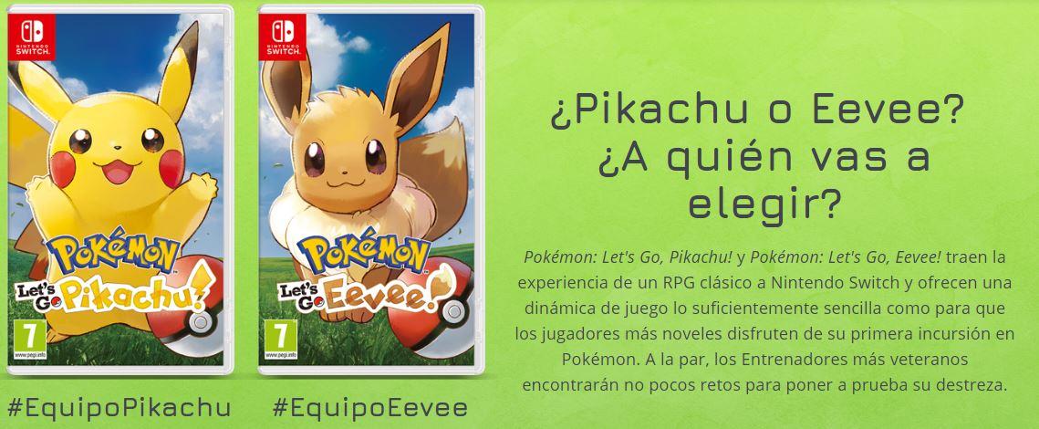 Let's Go, Pikachu! y Pokémon: Let's Go, Eevee! ya disponibles para Nintendo Switch