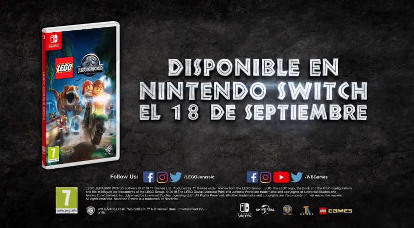 Anunciado LEGO Jurassic World para Switch