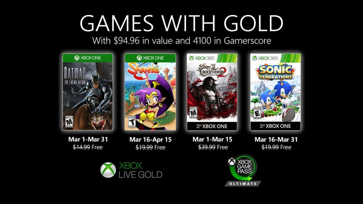 Batman, Drácula, Sonic y Shantae en los Games with Gold de marzo